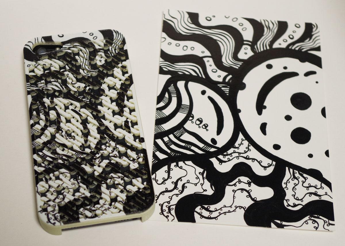 3Dプリンタに絵柄を2Dプリントした細胞柄iPhoneケース